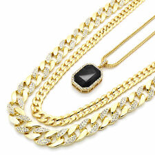 Men's 14k Gold Plated Iced Miami Frosted Cuban w Iced Black Ruby Pendant Bundle
