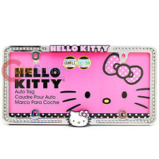 Sanrio Hello Kitty License Plate Frame Rhinestone Logo Metal Emblem