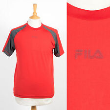 MENS FILA RED & GREY SPORTS T-SHIRT JERSEY SYNTHETIC DRI FIT GYM JOG RUNNING S