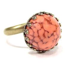 SoHo® Ring bronze bohemia 12mm coral matrix handgemachter böhmischer Glasstein