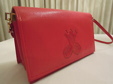 Jay Herbert New York Handbag / Clutch Purse Vintage 1980s Red Leather With Strap
