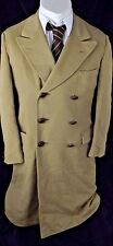 Vtg Chester Berrie Barney's New York cashmere blend leather button overcoat UK L