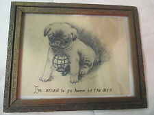 1930's Art Pen Charcoal Drawing Puppy Afraid to go Home in Dark signed R Smith