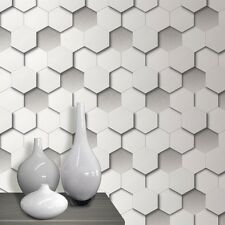 Feature Wallpaper 3D Leather Hexagon Pieces Funky Modern White Paste The Wall