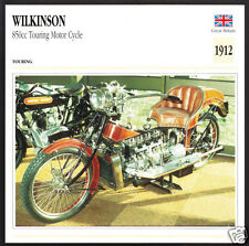 1912 Wilkinson Sword 850cc Touring Motor Cycle TMC Motorcycle Photo Spec Card