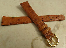France Made Honey Ostrich Embossed Grain 14mm Watch Band Gold Tone Buckle $22.95