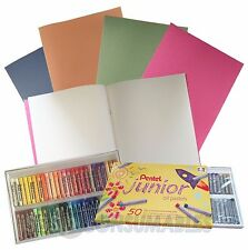 1 x Pack Of 50, Pentel Junior Oil Pastels & 1 x A4 Sketchbook (Cover May Vary).