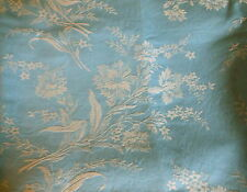 Antique French Sky Blue Floral Carnation Cotton Damask Ticking Fabric