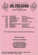 Original Dr Feelgood UK Concert Flyer - May Tour 1990 feat. The Hamsters