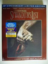 NEW/SEALED - Schindler's List (Blu-ray/DVD, 2013, 3-Disc Set, 20th Anniversary)