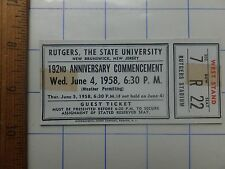 1958 Rutgers University Commencement Guest Ticket - Rutgers Stadium