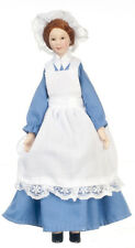 Dollhouse Miniature Doll Maid Blue Dress Porcelain 1:12 Scale