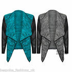 H9A Women's PU Sleeve Wet Look Long Sleeve Jacquard Waterfall Open Cardigan Top