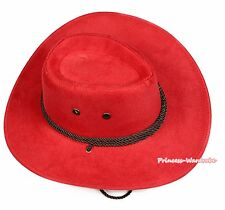 Teen Adult Size Hot Red Ropes Western Cowboy Hat Cattleman Unisex Costume Party