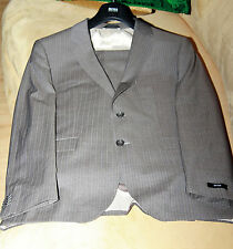 New Hugo Boss Men Suit Size 52-42 L, Gray with Light Blue striped