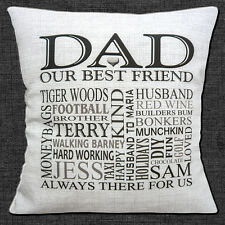 "PERSONALISED DAD Your Own Words HEART KEEPSAKE GIFT 16"" Pillow Cushion Cover"