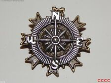 steampunk jewellery brooch badge silver compass pirate assassin's creed LARP