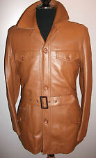 England Retro Real Brown Genuine Leather Small Belted Safari Blazer Jacket Coat