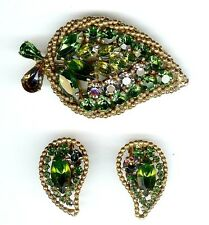 "VINTAGE SIGNED ""WEISS"" GREEN VIOLET RHINESTONE PIN BROOCH  EARRINGS SET  CLIP-ON"
