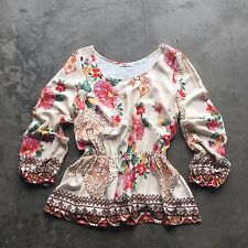 NEW Bohemian Floral STITCH FIX Boho Popover Career Long Sleeve Blouse Top Medium