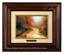 Thomas Kinkade Autumn Lane - Brushwork (Burl Frame)