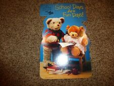 Vintage Hallmark Teddy Bear Die Cut Card School Paper Mint 1987 Crayola
