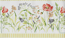 Laura Ashley Country Spring Floral with Green Stripe Trim WALLPAPER BORDER