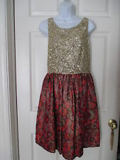 ANTHROPOLOGIE WREN GOLD SEQUINED JACQUARD FLORAL DRESS SIZE L GORGEOUS!