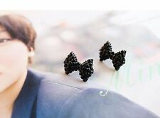 11 Pair Cute Black Rhinestone Crystal Bow Tie Bowknot Stud Earrings Jewellery
