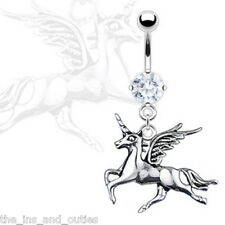 Unicorn Dangle CZ Gem Belly Ring Pierced Navel Naval Fantasy WIngs Horse (w833)