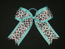 "NEW ""SPEARMINT LEOPARD"" Cheer Hair Bow Pony Tail 2.25"" Ribbon Girls Cheerleading"