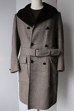 VTG Kilgour French Stanbury Herringbone Wool Storm Coat Alpaca 40L USA Overcoat