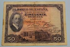50 PESETAS 1927 SELLO REPUBLICA ALFONSO XIII BANKNOTE SPAIN SPANISH