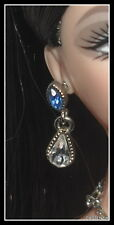 JEWELRY  BARBIE DOLL QUEEN OF SAPPHIRES GLAMOUR SWAROVSKI CRYSTALS EARRINGS