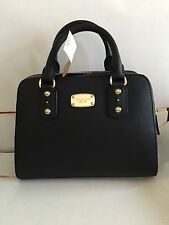 New Michael Kors Black Saffiano Leather Small Satchel Handbag Bag Domed Black