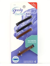 GOODY OUCHLESS FLEX COMFORT HAIR BARRETTES - 4 PCS.- BLACK & BROWN  (02076-2)
