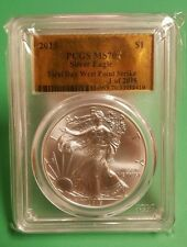 2015 GOLD FOIL LABEL Silver Eagle. PCGS MS 70 West Point First Day Strike.
