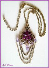 Clásico estilo Vintage De Cobre Colgante Collar Con púrpura de perlas y cristales!!