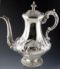 SUPERB ANTIQUE VICTORIAN STERLING SILVER COFFEE POT + FILTER H/M 1856 -1036 g