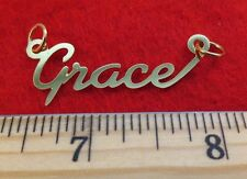 "14KT GOLD EP ""GRACE"" PERSONALIZED NAME PLATE WORD CHARM PENDANT 6148"