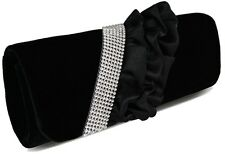 Ladies Womens Black Stunning Ruffle Satin With Crystal Trim Evening Clutch Bag.