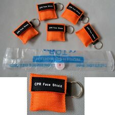 100 Sets/Pack CPR MASK WITH KEYCHAIN CPR FACE SHIELD AED ORANGE