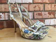 Guess Marciano GwemPower2 Patent Floral Ankle Strap Platform Gold Heel Sz 9