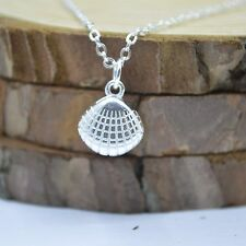 "Solid 925 Sterling Silver Small Cute Scallop Shell Pendant 17.7"" Chain Necklace"