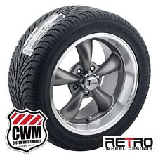 "17x7""/17x9"" Retro Staggered Gray Wheels Rims Tires for Ford Galaxie 59-72"