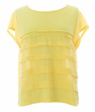 TOPSHOP Women's Yellow Solid Detailed Cap Sleeve Top 09I02A US Size 6 NEW.