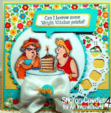 Old Birthday Golden Babes (No Words)L@@k@examples Art Impressions Rubber Stamps