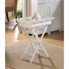 WHITE WOOD SHABBY COTTAGE CHIC ELEGANT FOLDING TRAY STAND TABLE   NEW  --33139