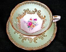 GROSVENOR TEA CUP AND SAUCER lime green floral rose pattern TEACUP PAINTED
