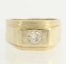Men's Diamond Solitaire Ring - 14k Yellow Gold Round Natural Polished .40ctw